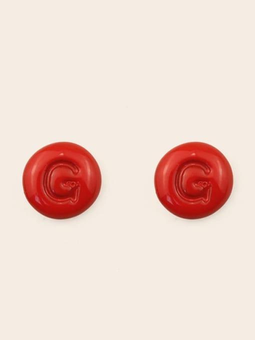 G Alloy Enamel Letter Minimalist Stud Earring