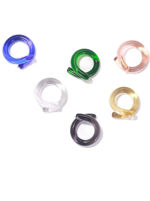 ACCA Coloured Glaze Geometric Minimalist Band Ring 0
