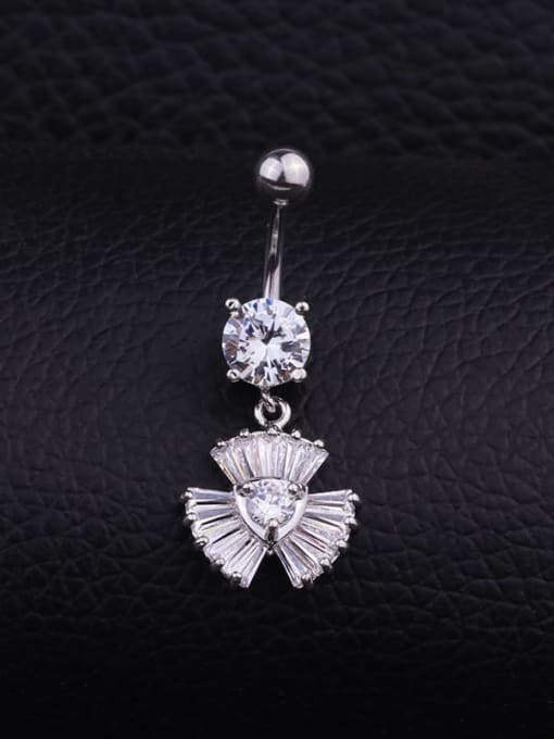 Section H (Single) Titanium Steel Cubic Zirconia Flower Hip Hop Belly Rings & Belly Bars