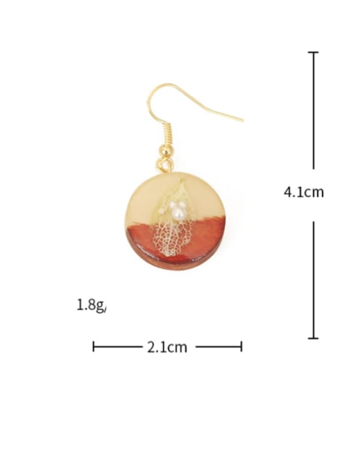 Five Color Alloy Wood Round Cute Hook Earring 3