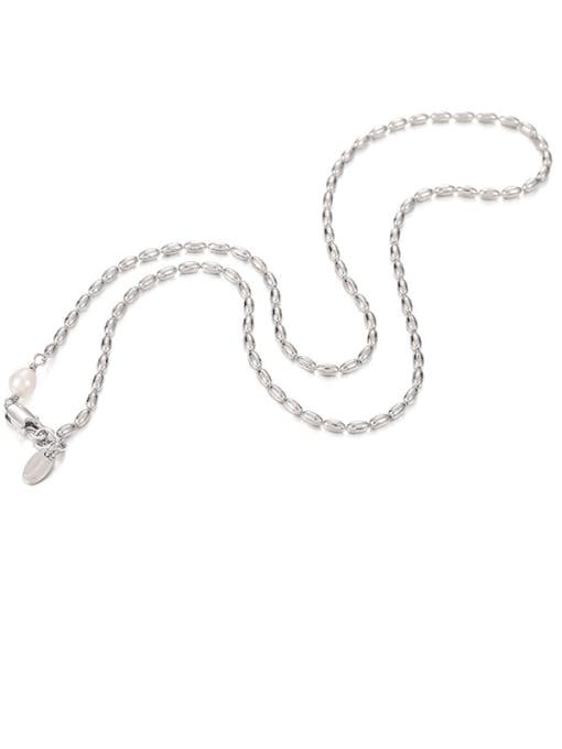 Platinum Brass Oval  Bead Minimalist Beaded Necklace