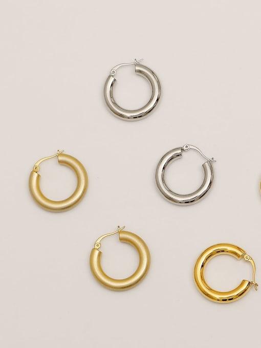 HYACINTH Brass  Smooth Geometric Vintage Hoop Earring 0