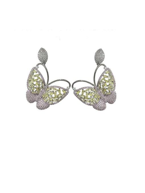 Pink Brass Cubic Zirconia Butterfly Vintage Stud Earring