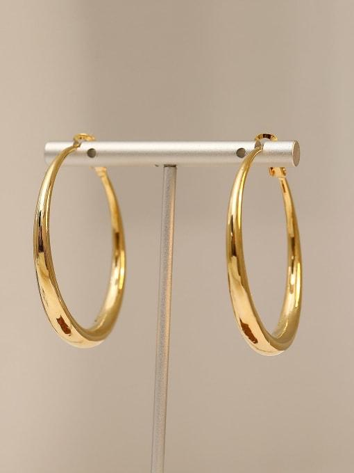 HYACINTH Brass Smooth Geometric Minimalist Hoop Earring 0