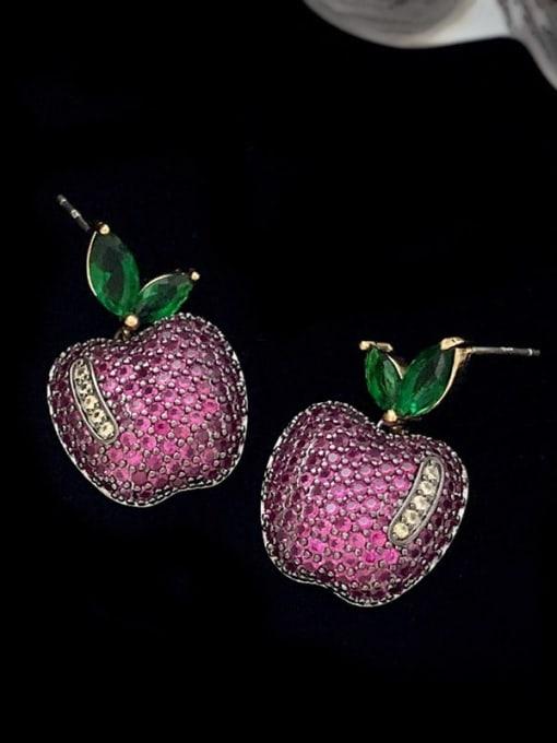 SUUTO Brass Cubic Zirconia Friut Vintage Stud Earring 2