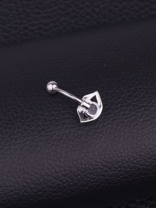 HISON Stainless steel Cubic Zirconia Mouth Hip Hop Belly Rings & Belly Bars 3