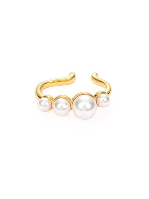 Ear bone clip (Single) Brass Imitation Pearl Geometric Vintage Single Earring