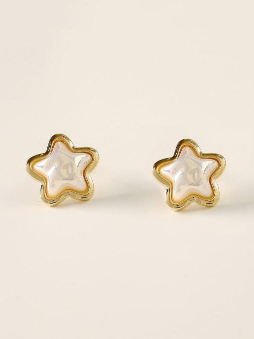 HYACINTH Brass Imitation Pearl Star Minimalist Stud Earring 0
