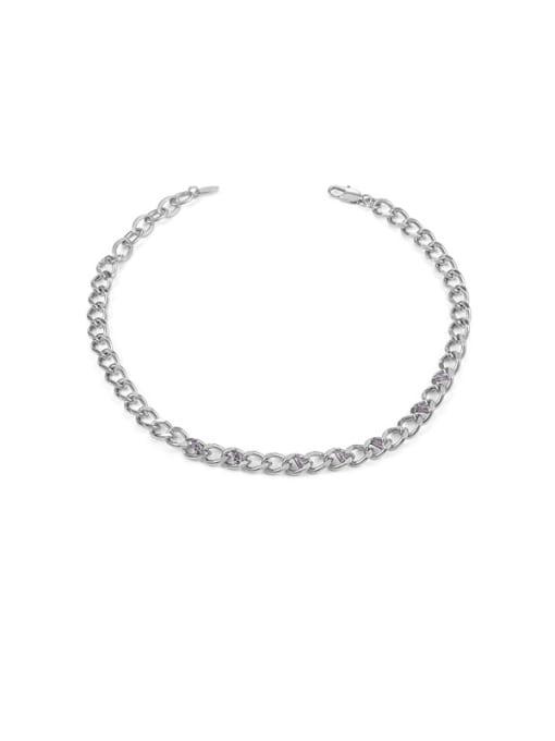 Platinum Brass Hollow Geometric Chain Hip Hop Necklace