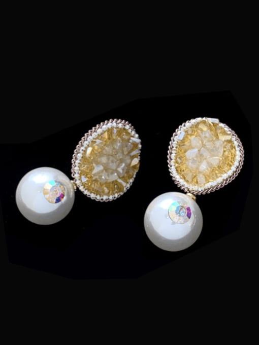 yellow Brass Imitation Pearl Geometric Statement Drop Earring