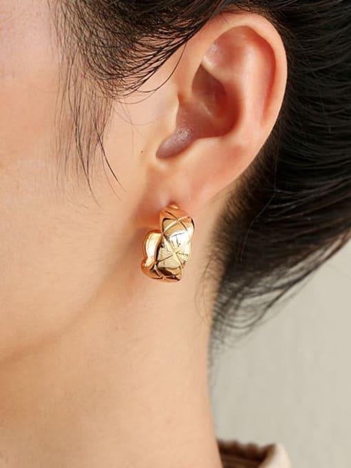 Five Color Brass Smooth Geometric Hip Hop Stud Earring 1
