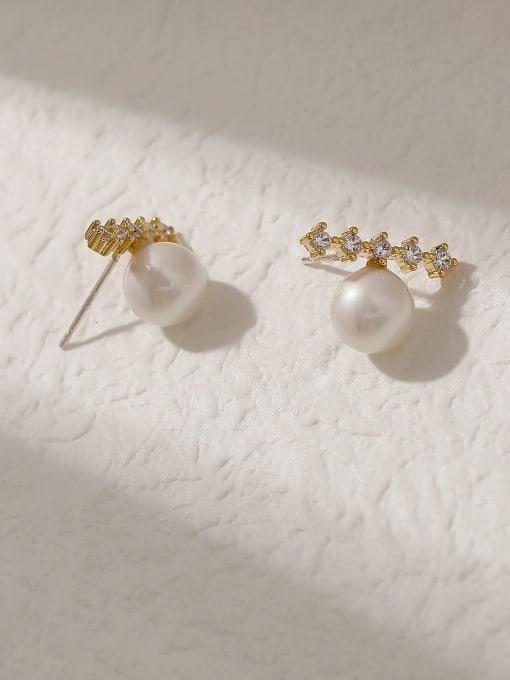 14k Gold Brass Cubic Zirconia Geometric Vintage Stud Trend Korean Fashion Earring