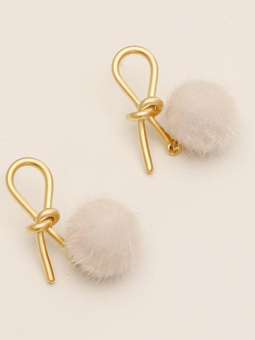 Dumb golden milky white hair ball Brass Plush Ball Ethnic knot Drop Earring