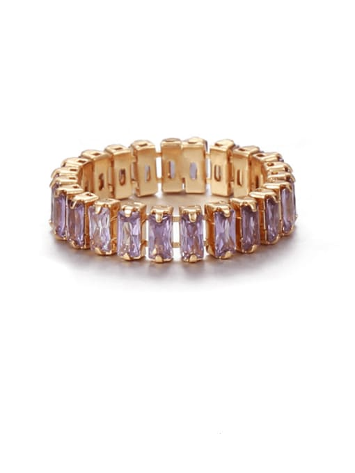 purple zircon Brass Cubic Zirconia Rainbow Vintage Band Ring