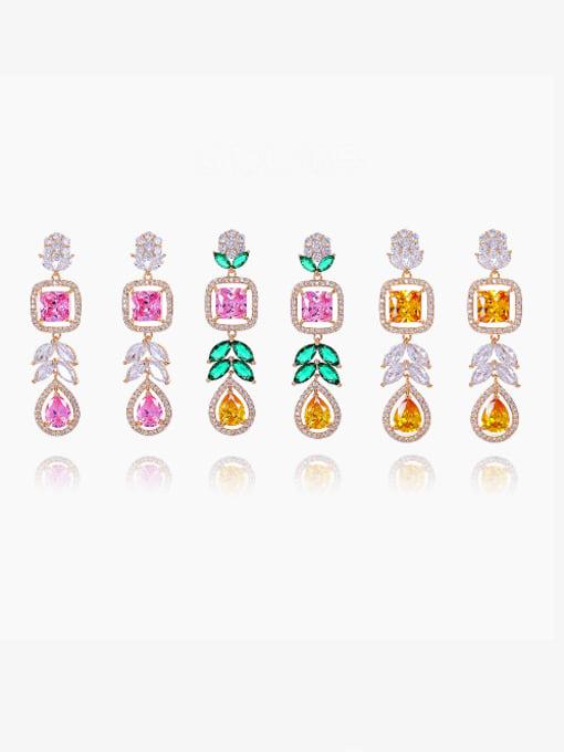 OUOU Brass Cubic Zirconia Heart Luxury Drop Earring