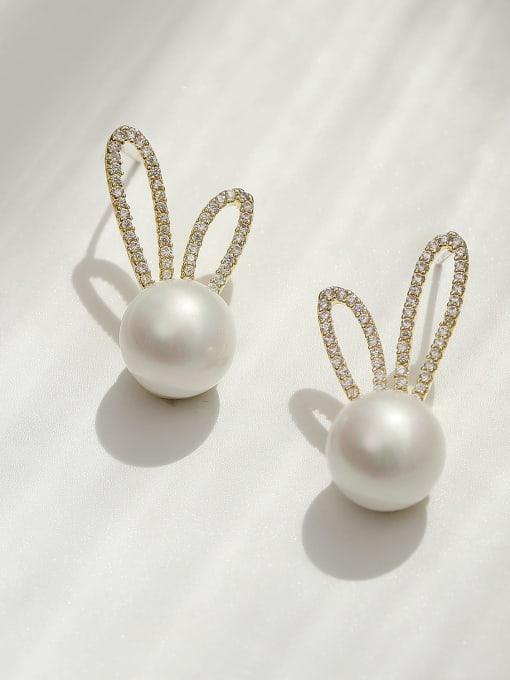14k gold Brass Imitation Pearl Irregular Bohemia Rabbit ears  Stud Earring