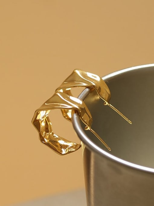 ACCA Brass smooth Irregular Minimalist Stud Earring 2