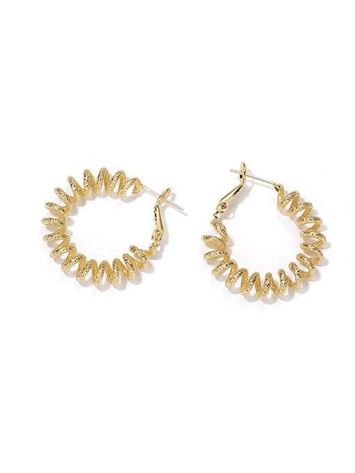 golden Brass Round Hip Hop Hoop Earring