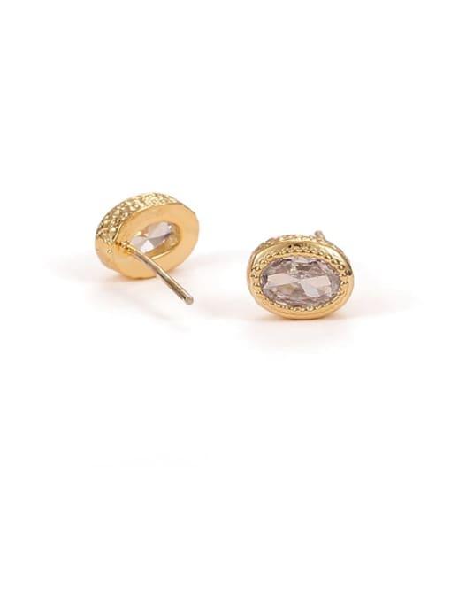 Oval Earrings Brass Cubic Zirconia Geometric Hip Hop Stud Earring