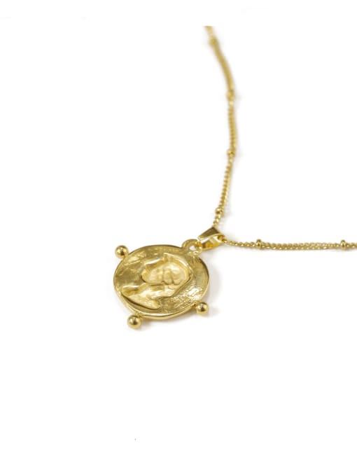 golden Brass Geometric Vintage Vintage portrait pendant Necklace