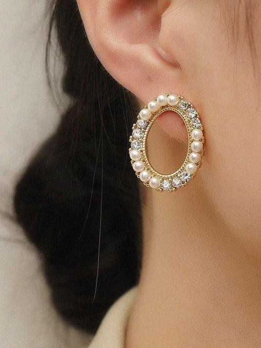 HYACINTH Brass Imitation Pearl Oval Vintage Stud Trend Korean Fashion Earring 1