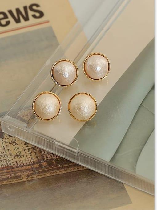 Five Color Brass Imitation Pearl Geometric Hip Hop Stud Earring 2