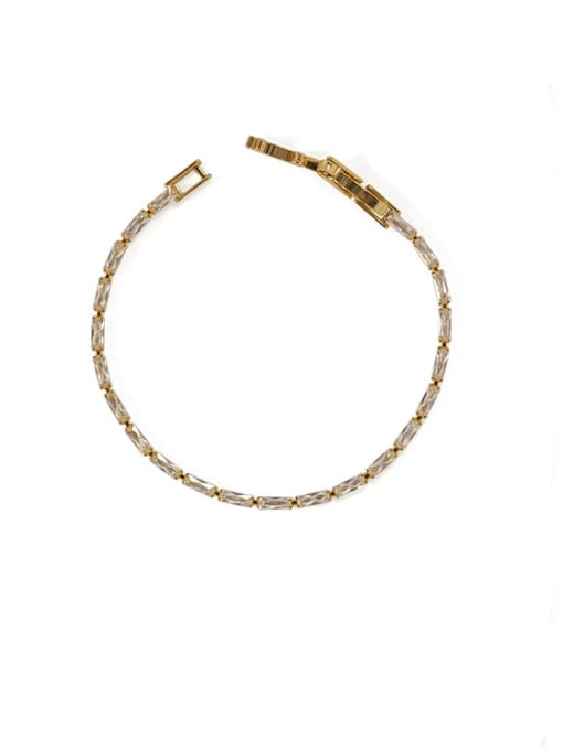 gold Brass Cubic Zirconia Geometric Vintage Bracelet