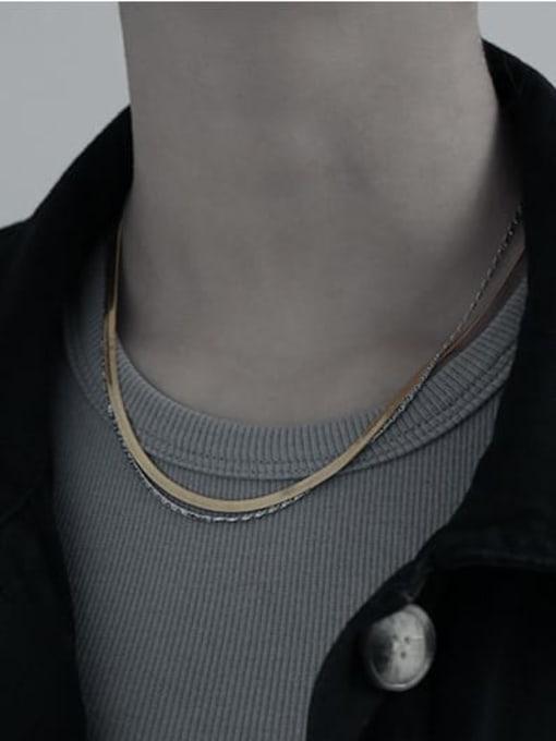 TINGS Brass Geometric Minimalist Multi Strand Necklace 1