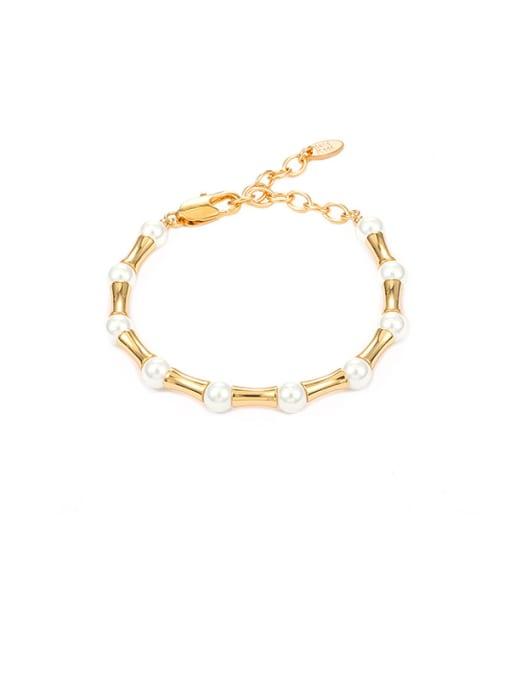 Beaded Bracelet Brass Imitation Pearl Geometric Minimalist Beaded Bracelet