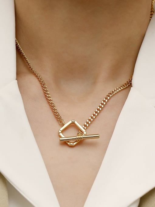 HYACINTH Brass Hollow Geometric Minimalist Necklace 2