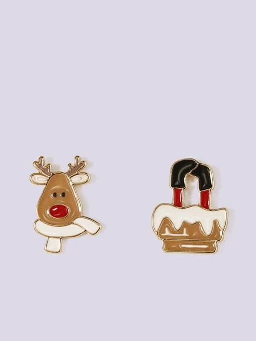 Five Color Alloy Enamel Asymmetry Deer Snowman Cute Stud Earring 3