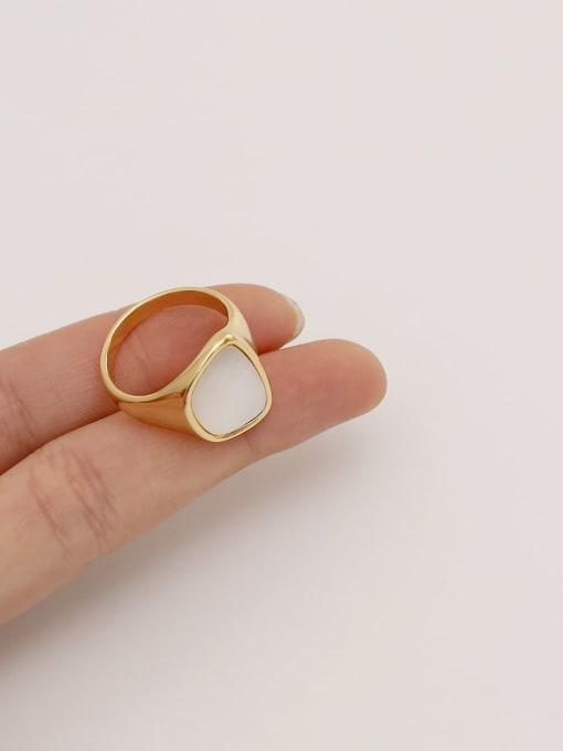 HYACINTH Brass Shell Geometric Minimalist Band Ring 1