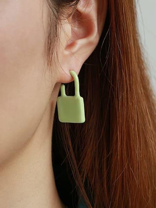 Fresh green single Zinc Alloy Enamel Locket Minimalist Single Earring