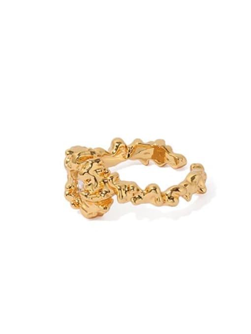 ACCA Brass Cubic Zirconia Irregular Vintage Band Ring 2