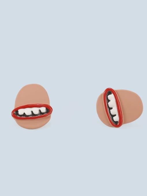 Five Color Alloy Enamel Mouth Cute Stud Earring 2