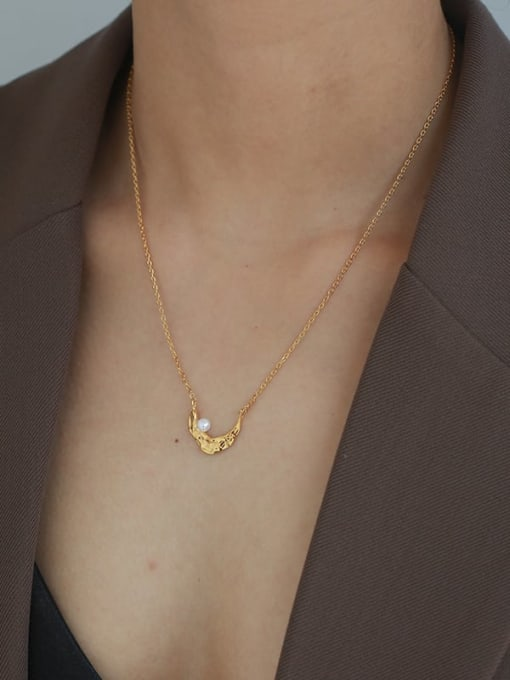 Five Color Brass Imitation Pearl Moon Vintage Necklace 1