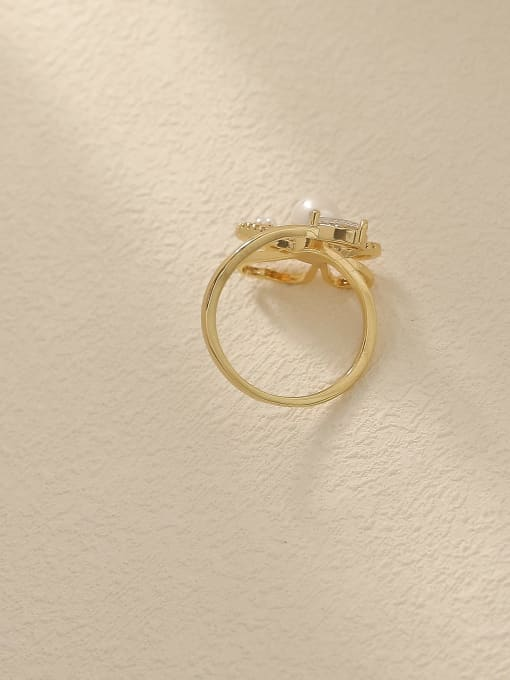 HYACINTH Brass Cubic Zirconia Butterfly Vintage Band Fashion Ring 2