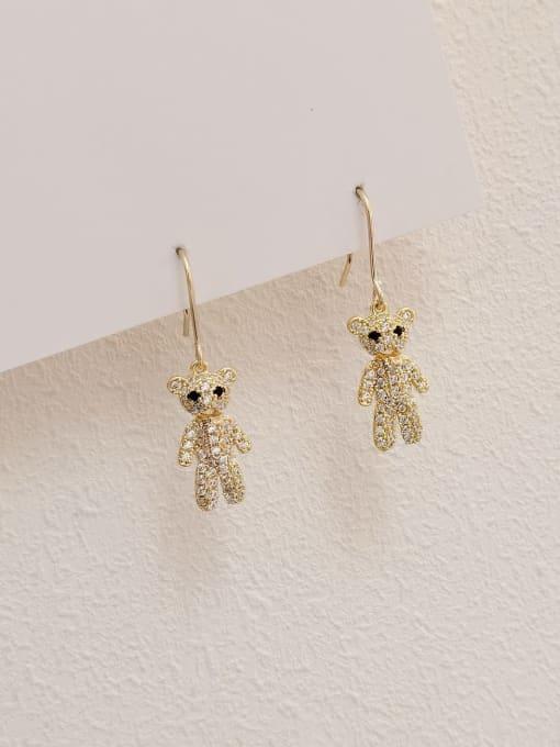 14k Gold Brass Cubic Zirconia Bear Vintage Hook Earring