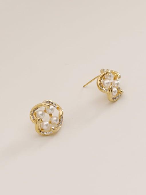 HYACINTH Brass Imitation Pearl Geometric Vintage Stud Earring 3