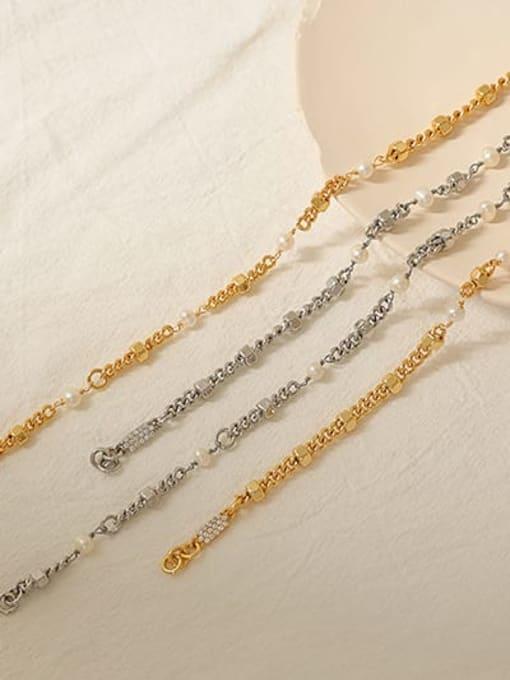 ACCA Brass Imitation Pearl Geometric Hip Hop Necklace 3
