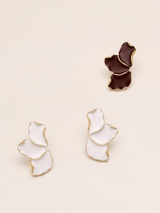 HYACINTH Brass Enamel Geometric Minimalist Stud Earring 2
