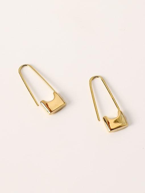 14k Gold Brass Geometric Minimalist Hook Earring