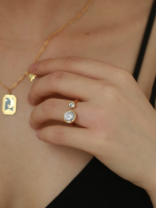 Five Color Brass Rhinestone Geometric Minimalist Band Ring 2