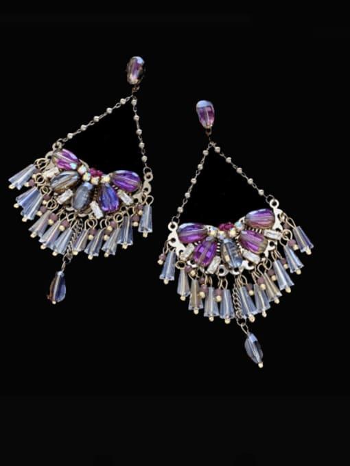 SUUTO Brass Crystal Geometric  Imitate Statement Drop Earring 1