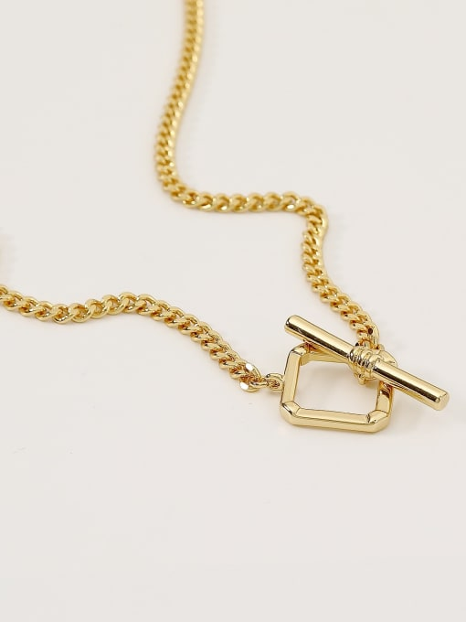 HYACINTH Brass Hollow Geometric Minimalist Necklace 3