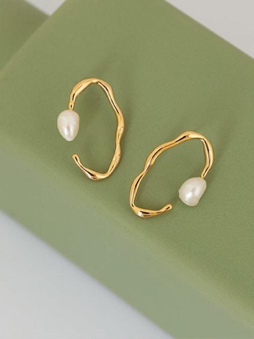 Five Color Brass Imitation Pearl Geometric Vintage Stud Earring 0