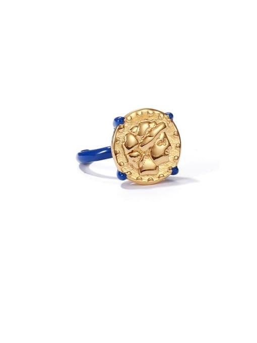 ACCA Brass Enamel Geometric Vintage Band Ring 4