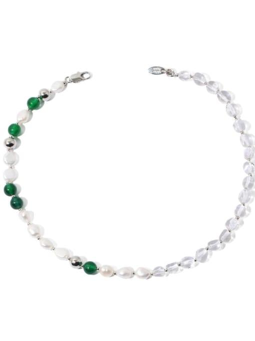 TINGS Brass Imitation Pearl Geometric Minimalist Natural stone Necklace 0