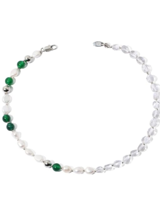 TINGS Brass Imitation Pearl Geometric Minimalist Natural stone Necklace