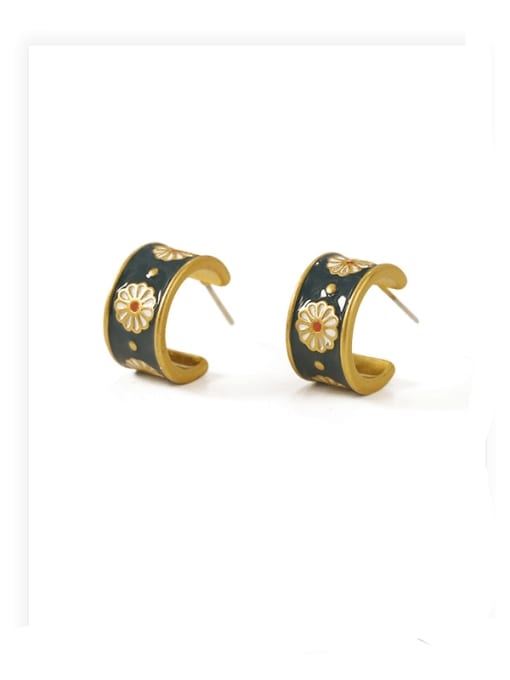 ACCA Brass Enamel Flower Vintage Stud Earring